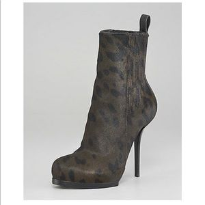 Alexander Wang pony hair olive leopard ankle boots
